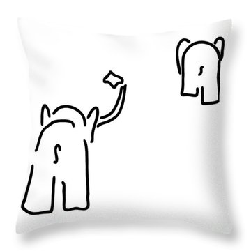 Pair Of Elephants Say Farewell Throw Pillow by Lineamentum