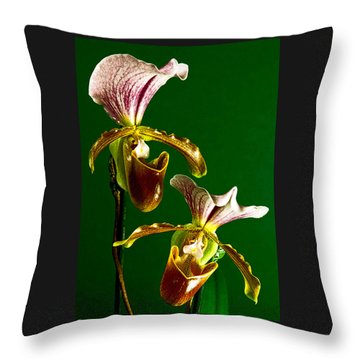 Throw Pillow featuring the photograph Pair Of Lady Slipper Orchids by Elf Evans