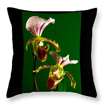 Pair Of Lady Slipper Orchids Throw Pillow