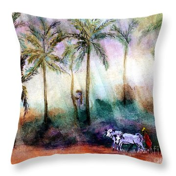 Pair Of Oxen Throw Pillow by Randy Sprout