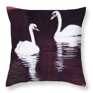Pair Of White Swans Swimming Throw Pillow