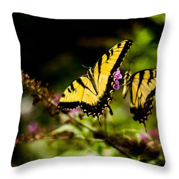 Pair Of Yellow Swallowtails Throw Pillow by Bruce Pritchett