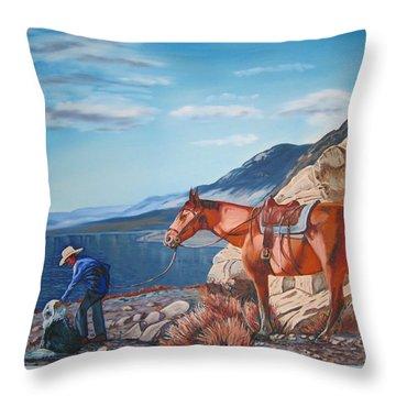 Paiute Boy At Walker Lake Throw Pillow by Joseph Juvenal