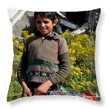 Throw Pillow featuring the photograph Pakistani Boy In Front Of Hotel Ruins In Swat Valley by Imran Ahmed