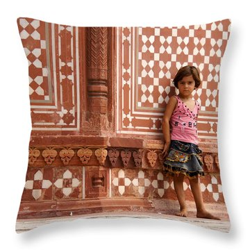 Pakistani Girl Throw Pillow by Debi Demetrion
