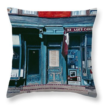 Palace Barber Shop And Lees Candy Store Throw Pillow by Anthony Butera