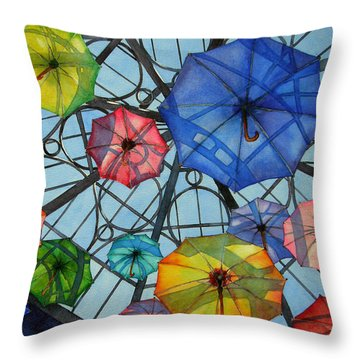 Throw Pillow featuring the painting Palazzo Parasols by Judy Mercer