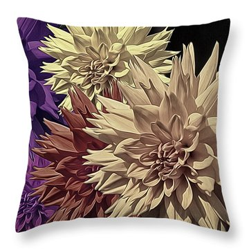 Pale Dahlias Throw Pillow by Richard Farrington