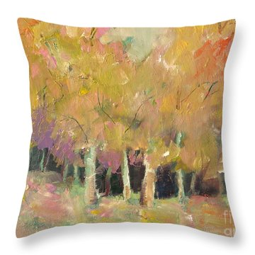 Throw Pillow featuring the painting Pale Forest by Michelle Abrams