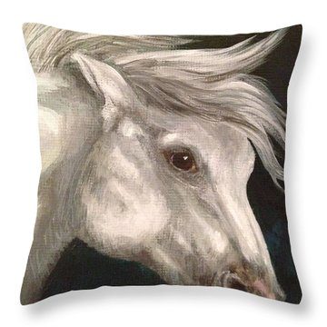 Pale Grey Horse Throw Pillow