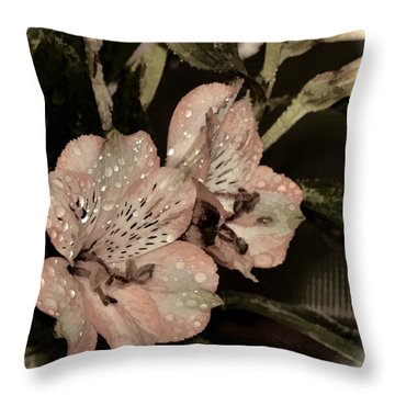 Pale Pink Lilies On Dark Background Throw Pillow