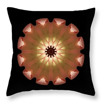 Throw Pillow featuring the photograph Pale Pink Tulip Flower Mandala by David J Bookbinder