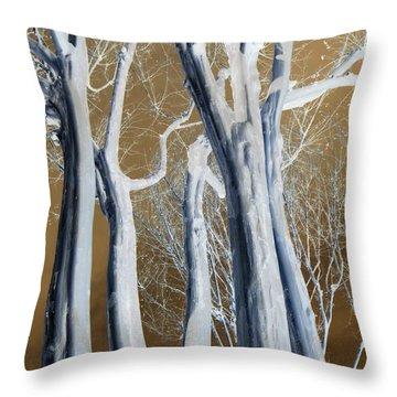Throw Pillow featuring the photograph Pale Trunks by Jodie Marie Anne Richardson Traugott          aka jm-ART