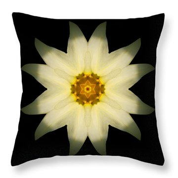 Throw Pillow featuring the photograph Pale Yellow Daffodil Flower Mandala by David J Bookbinder