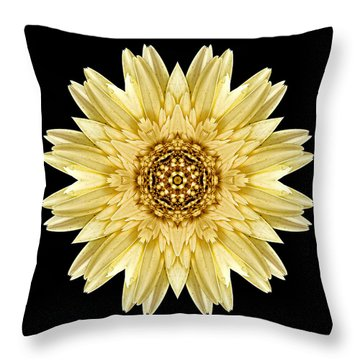 Throw Pillow featuring the photograph Pale Yellow Gerbera Daisy I Flower Mandala by David J Bookbinder