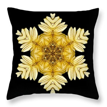 Throw Pillow featuring the photograph Pale Yellow Gerbera Daisy Vii Flower Mandalaflower Mandala by David J Bookbinder