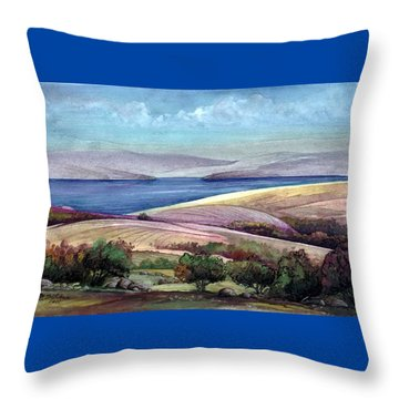 Throw Pillow featuring the painting Palestine View by Mikhail Savchenko