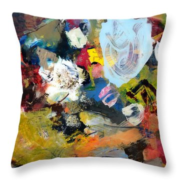 Palette Abstract Throw Pillow by Michelle Calkins