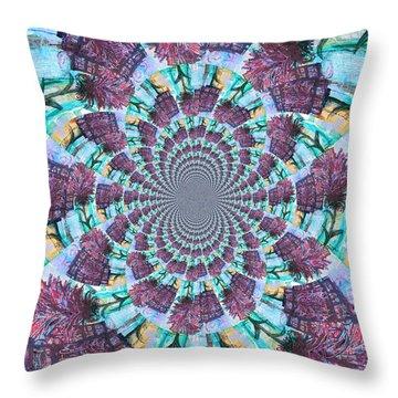 Palette Knife Flowers Kaleidoscope Mandela Throw Pillow by Genevieve Esson