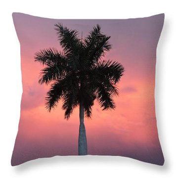 Palm Against Salmon Pink Throw Pillow by Beth Williams