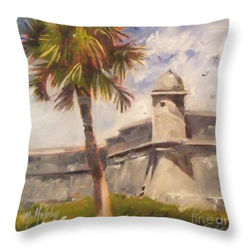 Palm At St. Augustine Castillo Fort Throw Pillow by Mary Hubley