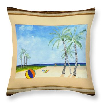 Throw Pillow featuring the painting Palm Beach by Ron Davidson