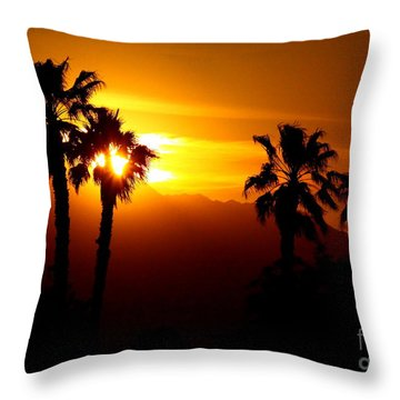 Palm Desert Sunset Throw Pillow