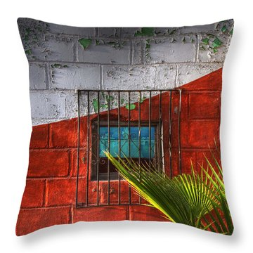 Palm Frond View Throw Pillow by Kandy Hurley