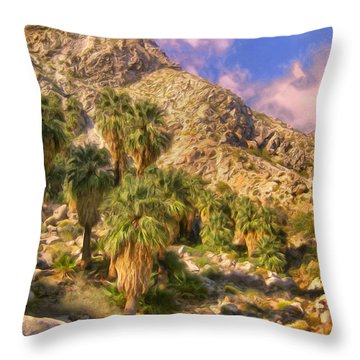 Palm Oasis In Late Afternoon Throw Pillow