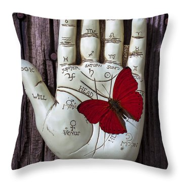 Palm Reading Hand And Butterfly Throw Pillow by Garry Gay