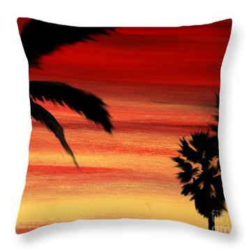 Palm Set Throw Pillow by Ryan Burton