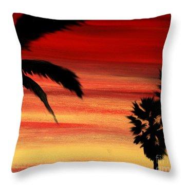 Palm Set Throw Pillow by Ryan Burton
