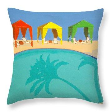 Palm Shadow Cabanas Throw Pillow