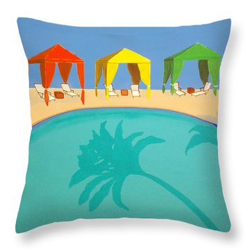 Palm Shadow Cabanas Throw Pillow