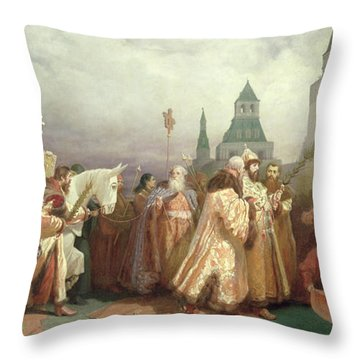 Palm Sunday Procession Under The Reign Of Tsar Alexis Romanov Throw Pillow