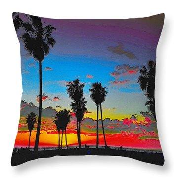 Throw Pillow featuring the digital art Palm Sunset by Visual Artist Frank Bonilla