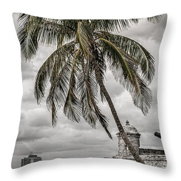 Palm Tree In Havana Bay Throw Pillow