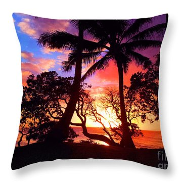 Throw Pillow featuring the photograph Palm Tree Silhouette by Kristine Merc