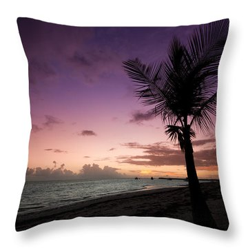 Palm Tree Sunrise Throw Pillow by Sebastian Musial