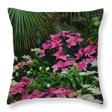 Palm Trees And Flowers Throw Pillow by Kathleen Struckle