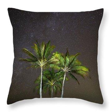 Palm Trees And Milky Way Galaxy Hanalei Bay Kauai Throw Pillow