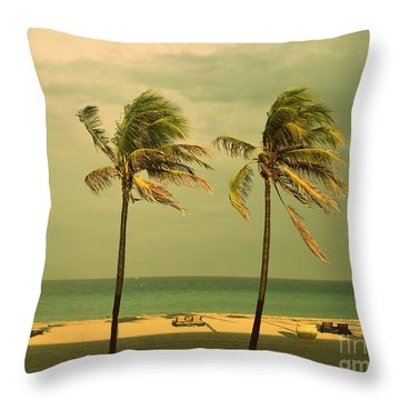 Palm Trees At Hallendale Beach Throw Pillow