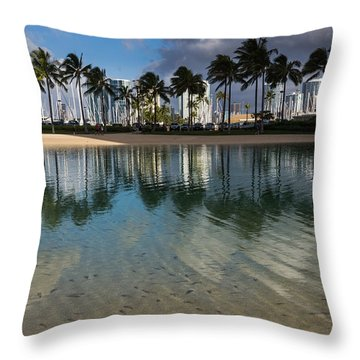 Palm Trees Crystal Clear Lagoon Water And Tropical Fish Throw Pillow