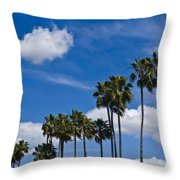 Palm Trees In San Diego California No. 1661 Throw Pillow by Randall Nyhof