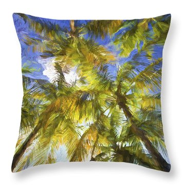 Palm Trees Of Aruba Throw Pillow