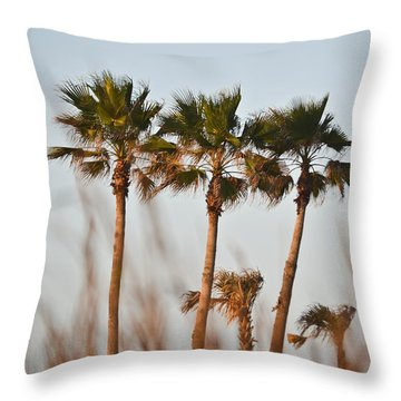 Palm Trees Through Tall Grass Throw Pillow