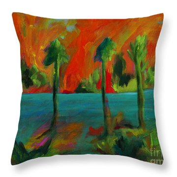 Palm Trio Sunset Throw Pillow