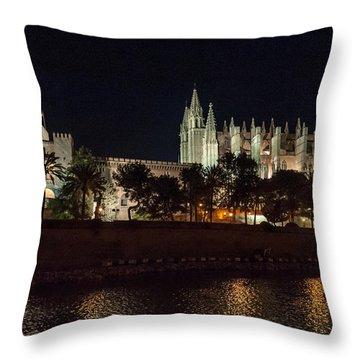 Palma Cathedral Mallorca At Night Throw Pillow