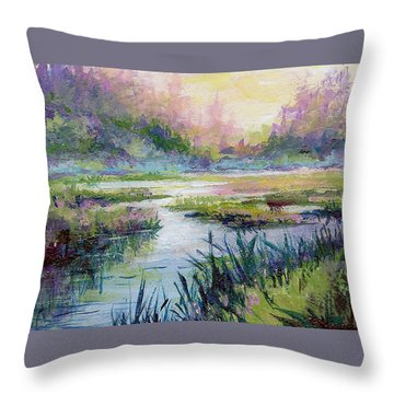 Palmer Hayflats Throw Pillow by Karen Mattson
