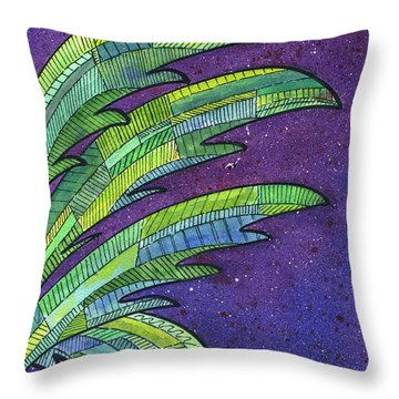 Palms Against The Night Sky Throw Pillow by Diane Thornton